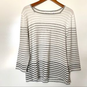 Alfred Dunner Square Striped Ombre Silver Sweater